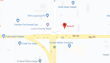 Map showing the location of WCD-WIC El Reno, OK clinic